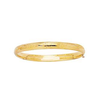 14 Karat Yellow Gold 5.5mm 5.50 Inch Children's Shiny Diamond Cut Florentine Bangle