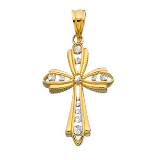 14 Karat Yellow & White Gold 30x17mm Shiny Diamond Cut Fancy Cross Pendant