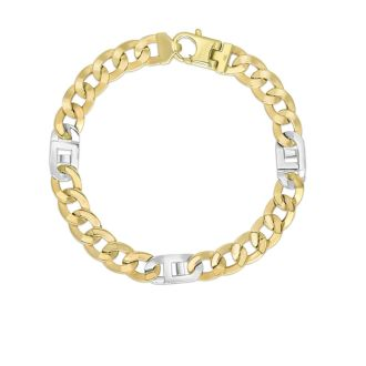 14 Karat Yellow & White Gold 7.0mm 8.50 Inch Shiny Diamond Cut Curb-Mariner Link Men's Bracelet