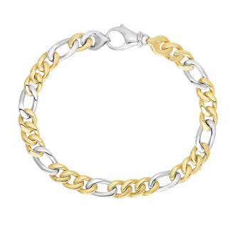 14 Karat Yellow & White Gold 6.0mm 8.50 Inch Soft Faceted & Shiny Figaro Style Men's Bracelet