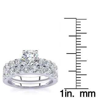 2 Carat Total Round Natural Diamond Engagement Ring and Wedding Band Set in 14K White Gold. Sizzling, Bright White Diamonds!