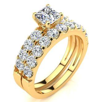 2 Carat Princess Center Engagement Ring and Wedding Band Set In 14K Yellow Gold