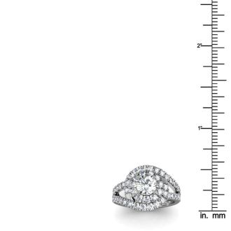 2 1/4 Carat Bypass Round Halo Diamond Engagement Ring in 14 Karat White Gold