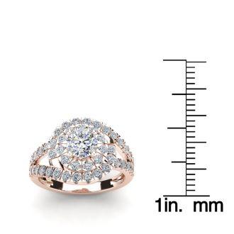 2 1/4 Carat Bypass Round Halo Diamond Engagement Ring in 14 Karat Rose Gold