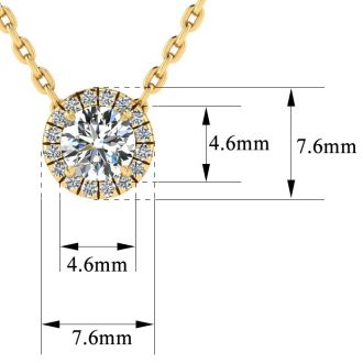 1/2ct Halo Diamond Necklace In 14K Yellow Gold