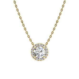 1 1/5ct Halo Diamond Necklace In 14K Yellow Gold