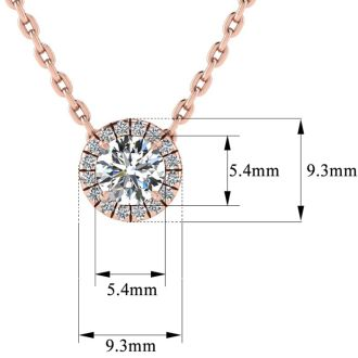 7/8ct Halo Diamond Necklace In 14K Rose Gold