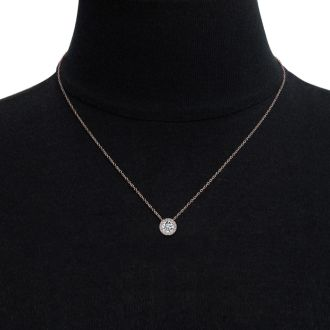 1 1/5ct Halo Diamond Necklace In 14K Rose Gold