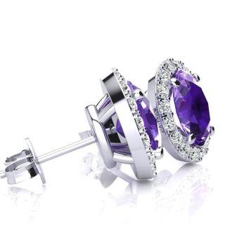 1 Carat Oval Shape Amethyst and Halo Diamond Stud Earrings In 14 Karat White Gold