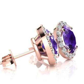 1 Carat Oval Shape Amethyst and Halo Diamond Stud Earrings In 10 Karat Rose Gold