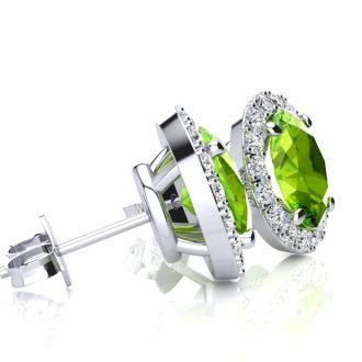 1 Carat Oval Shape Peridot and Halo Diamond Stud Earrings In 10 Karat White Gold