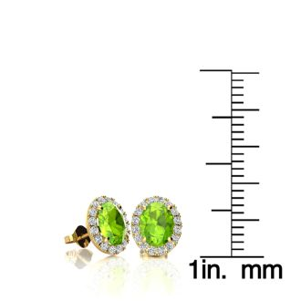 1 Carat Oval Shape Peridot and Halo Diamond Stud Earrings In 14 Karat Yellow Gold