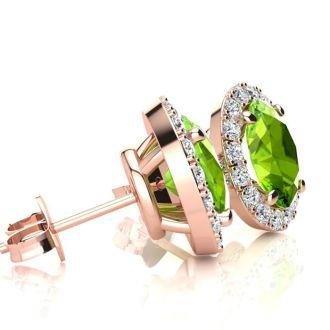 1 Carat Oval Shape Peridot and Halo Diamond Stud Earrings In 14 Karat Rose Gold