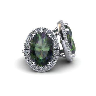 1 1/4 Carat Oval Shape Mystic Topaz and Halo Diamond Stud Earrings In 10 Karat White Gold
