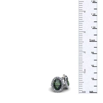 1 1/4 Carat Oval Shape Mystic Topaz and Halo Diamond Stud Earrings In 14 Karat White Gold