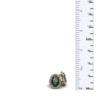 1 1/4 Carat Oval Shape Mystic Topaz and Halo Diamond Stud Earrings In 14 Karat Yellow Gold