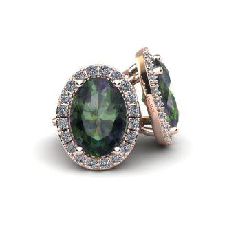 1 1/4 Carat Oval Shape Mystic Topaz and Halo Diamond Stud Earrings In 14 Karat Rose Gold