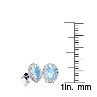1 Carat Oval Shape Aquamarine and Halo Diamond Stud Earrings In 10 Karat White Gold
