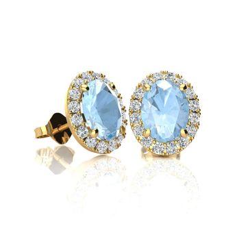 1 Carat Oval Shape Aquamarine and Halo Diamond Stud Earrings In 10 Karat Yellow Gold