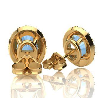 1 Carat Oval Shape Aquamarine and Halo Diamond Stud Earrings In 14 Karat Yellow Gold
