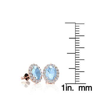 1 Carat Oval Shape Aquamarine and Halo Diamond Stud Earrings In 10 Karat Rose Gold