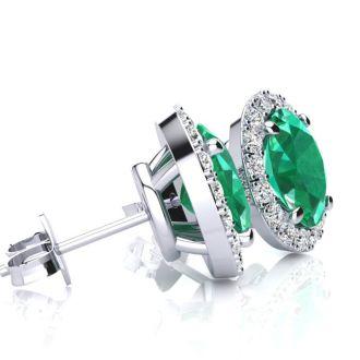 1 Carat Oval Shape Emerald and Halo Diamond Stud Earrings In 14 Karat White Gold