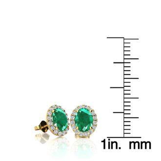 1 Carat Oval Shape Emerald and Halo Diamond Stud Earrings In 14 Karat Yellow Gold