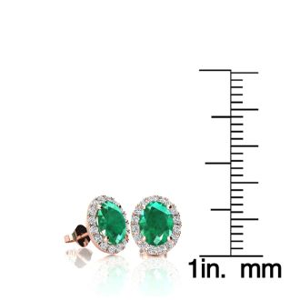 1 Carat Oval Shape Emerald and Halo Diamond Stud Earrings In 14 Karat Rose Gold