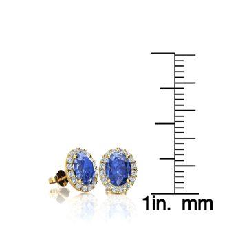 1 1/4 Carat Oval Shape Tanzanite and Halo Diamond Stud Earrings In 14 Karat Yellow Gold