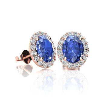 1 1/4 Carat Oval Shape Tanzanite and Halo Diamond Stud Earrings In 10 Karat Rose Gold