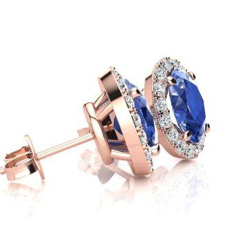 1 1/4 Carat Oval Shape Tanzanite and Halo Diamond Stud Earrings In 14 Karat Rose Gold