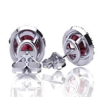 1 1/4 Carat Oval Shape Garnet and Halo Diamond Stud Earrings In 10 Karat White Gold