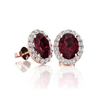 1 1/4 Carat Oval Shape Garnet and Halo Diamond Stud Earrings In 14 Karat Rose Gold