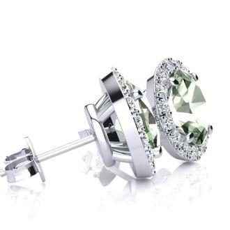1 Carat Oval Shape Green Amethyst and Halo Diamond Stud Earrings In 10 Karat White Gold