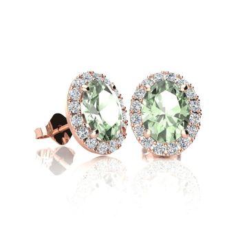 1 Carat Oval Shape Green Amethyst and Halo Diamond Stud Earrings In 10 Karat Rose Gold