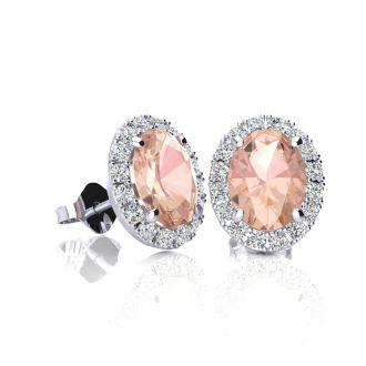 1 Carat Oval Shape Morganite and Halo Diamond Stud Earrings In 10 Karat White Gold