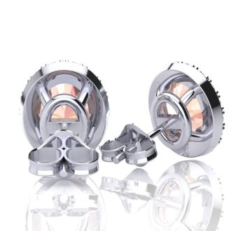 1 Carat Oval Shape Morganite and Halo Diamond Stud Earrings In 14 Karat White Gold