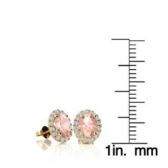1 Carat Oval Shape Morganite and Halo Diamond Stud Earrings In 10 Karat Yellow Gold