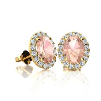 1 Carat Oval Shape Morganite and Halo Diamond Stud Earrings In 14 Karat Yellow Gold