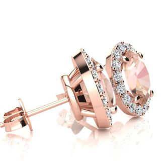 1 Carat Oval Shape Morganite and Halo Diamond Stud Earrings In 10 Karat Rose Gold