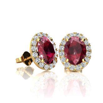 1 1/4 Carat Oval Shape Ruby and Halo Diamond Stud Earrings In 10 Karat Yellow Gold