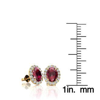 1 1/4 Carat Oval Shape Ruby and Halo Diamond Stud Earrings In 14 Karat Yellow Gold