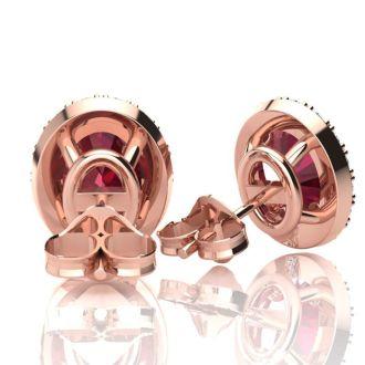 1 1/4 Carat Oval Shape Ruby and Halo Diamond Stud Earrings In 14 Karat Rose Gold