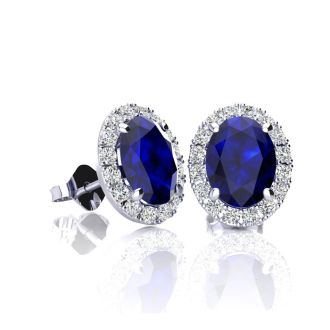 1 1/3 Carat Oval Shape Sapphire and Halo Diamond Stud Earrings In 10 Karat White Gold
