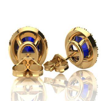 1 1/3 Carat Oval Shape Sapphire and Halo Diamond Stud Earrings In 14 Karat Yellow Gold