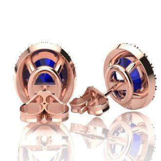 1 1/3 Carat Oval Shape Sapphire and Halo Diamond Stud Earrings In 14 Karat Rose Gold