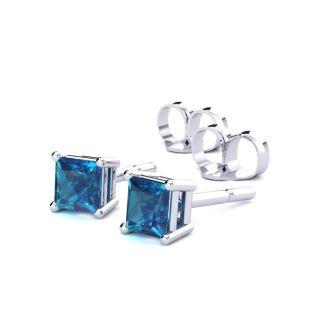 1/2ct  Blue Diamond Princess Stud Earrings in White Gold