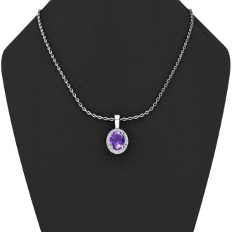 3/4 Carat Oval Shape Amethyst and Halo Diamond Necklace In 14 Karat White Gold With 18 Inch Chain