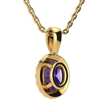 3/4 Carat Oval Shape Amethyst and Halo Diamond Necklace In 14 Karat Yellow Gold With 18 Inch Chain