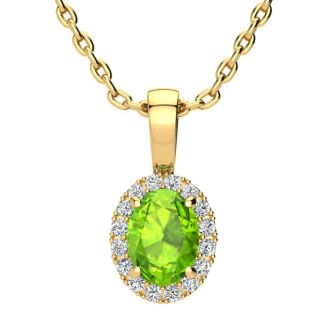 1 Carat Oval Shape Peridot and Halo Diamond Necklace In 14 Karat Yellow Gold With 18 Inch Chain